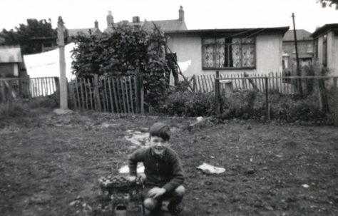 John in prefab garden, Underhill Road, London SE22