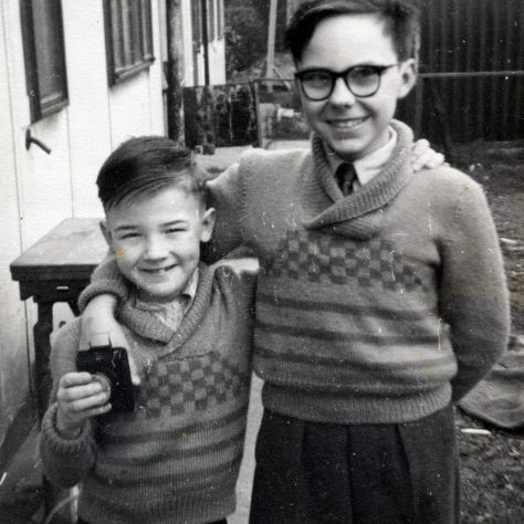 John and his brother outside the prefab in Underhill Road, London SE22