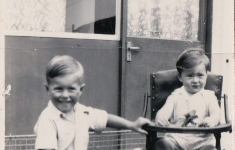 Martin and his brother in the prefab garden. Kennylands Road, Hainault