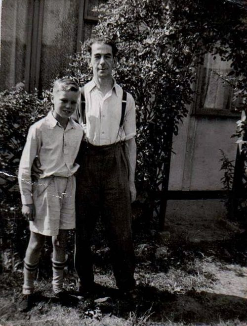 Ben with his dad in their prefab garden, Dartmouth Park Hill, London N19