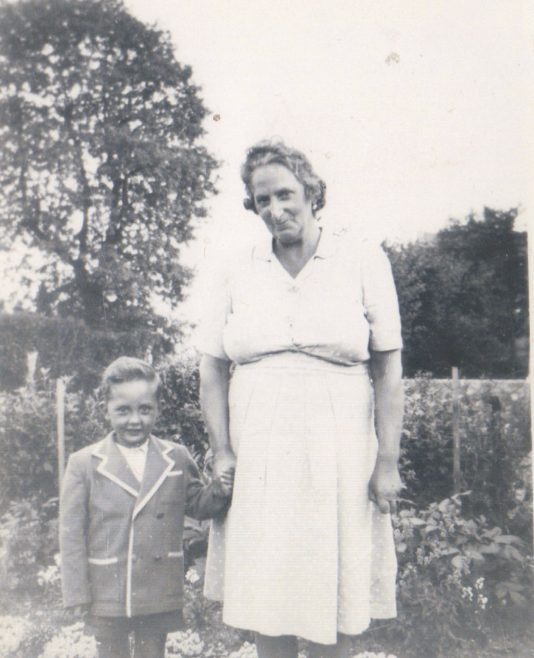 Terence and his grandmother in the prefab garden, Dartmouth Park Hill, London N19