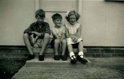Richard Gough, Peter and Hilary next door. Abbots Gardens, Shrewsbury