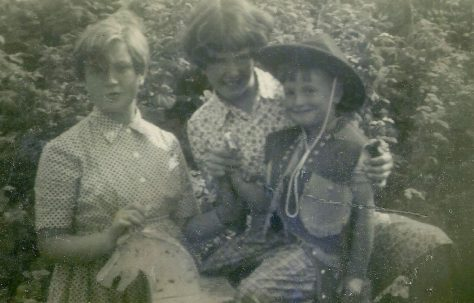 Peter on his fourth birthday with his sisters. Abbots Gardens