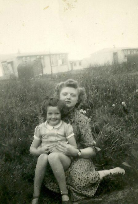 Ursula with Aunt Cecily in Peter Ford's family prefab garden, Shrewsbury