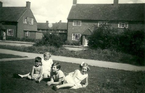 Peter and pals with marbles area to the right. Abbots Gardens, Shrewsbury