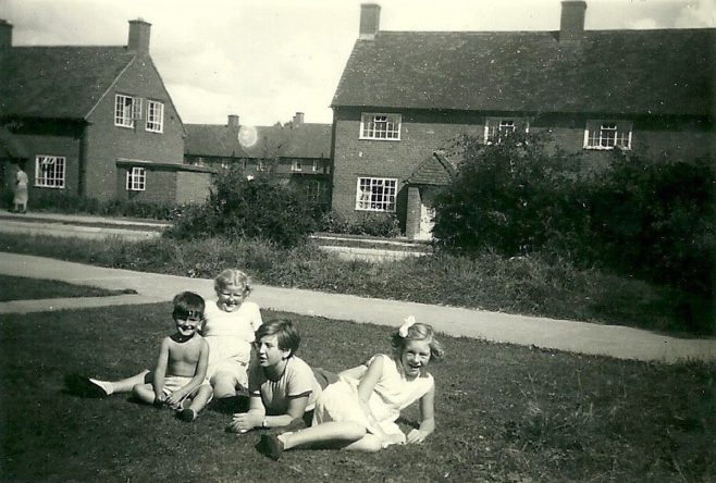 Peter and pals with marbles area to the right. Abbots Gardens