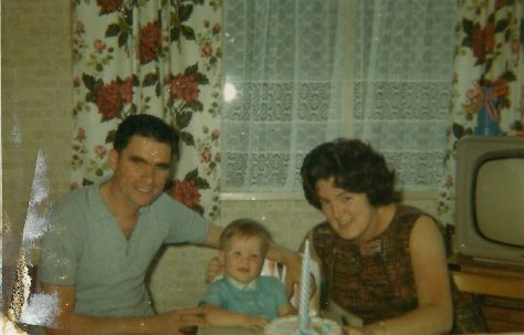 George and Pat Maslin with Paul on his first birthday. Berthon Street, Deptford, London SE8