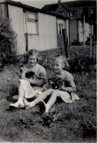Two girls with kittens in the prefab garden. Hollyhedge bungalows, Blackheath, London SE3 | Brenda Anderson Browne