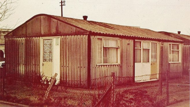 Arcon prefab. 1 Woodman Road, Hainault Estate, Chigwell