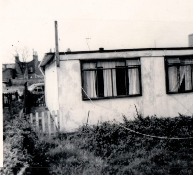 Rear of no. 4 Tooke St shortly after we moved in, in 1955. Dad soon had the garden tidied and the outside painted cream. The windows are of the two bedrooms.