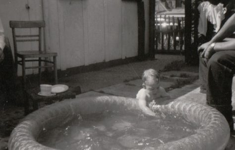 Paddling pool outside the prefab at 4 Tooke Street, London E14