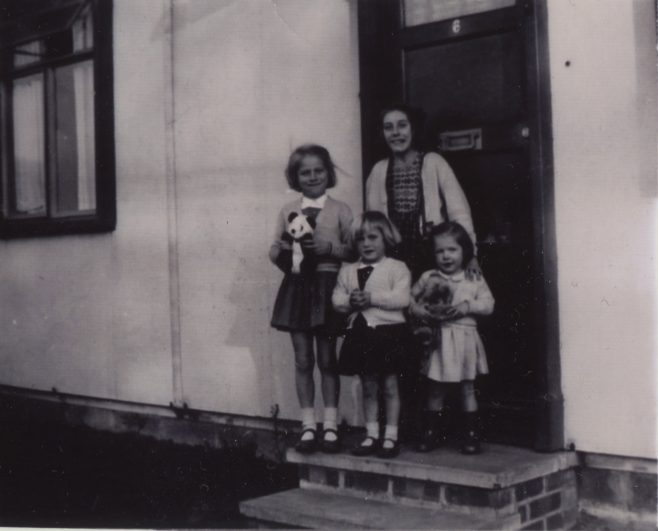 Us four girls on the front doorstep. 6 Willow Lane, Wickford, Essex