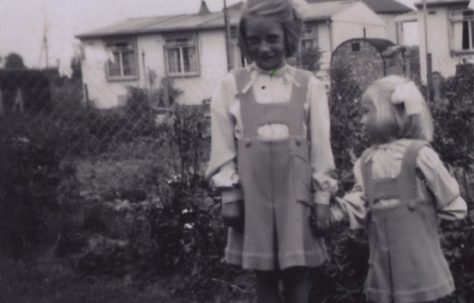 Elizabeth and Pauline in the back garden with nos 1 and 2 in the background. 6 Willow Lane, Wickford, Essex