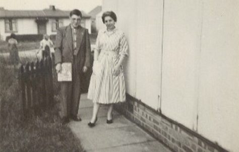 Melanie's family outside the prefab in Lowden Croft, South Yardley, Birmingham
