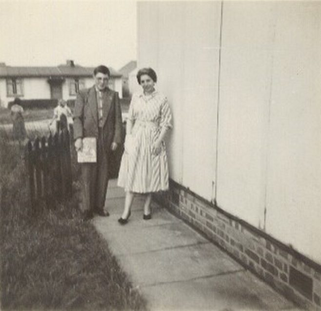 Melanie's family outside the prefab in Lowden Croft, South Yardley, Birmingham