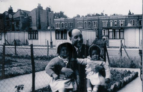 George Rennie with his two daughters Judy and Naomi. St Lawrence Road, Brixton
