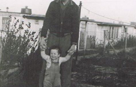 Bernard and his dad in the prefab garden. 60 Harewood Road, Coventry