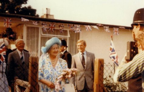 Queen Mother visiting the Excalibur Estate prefabs, 1980s