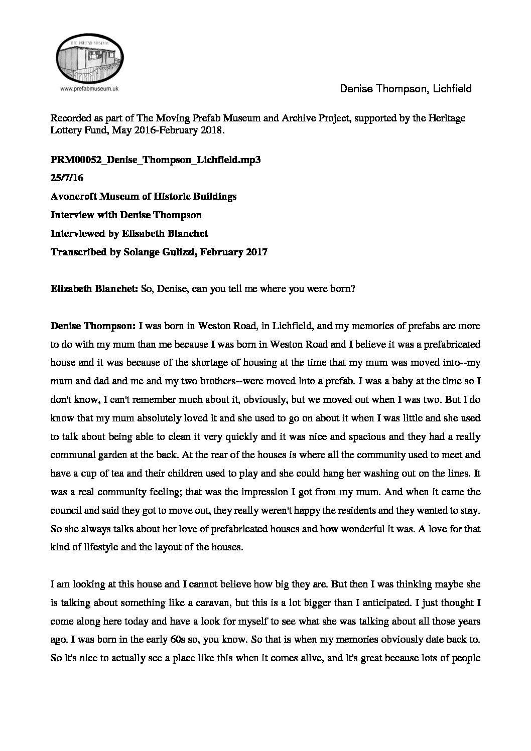 Transcription of Denise Thompson's interview