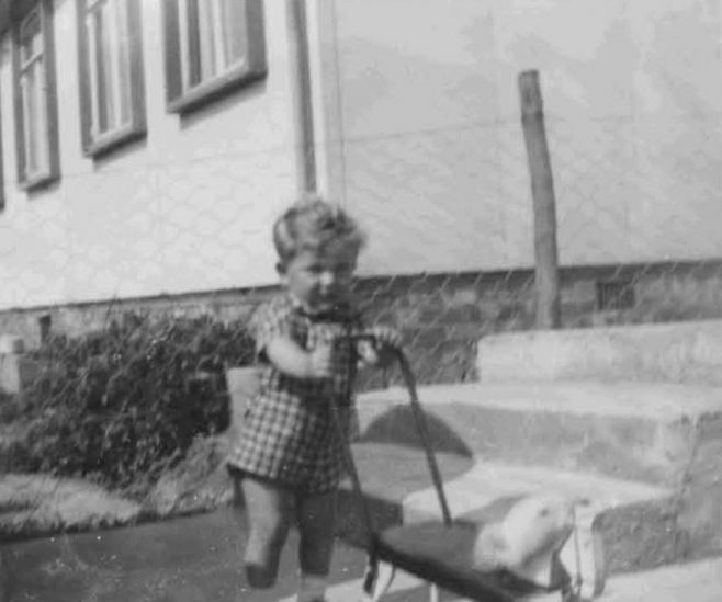 Bob as a toddler outside the prefab. Barnfield Road, St Mary Cray