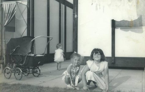 Dave's sisters outside the LCC Mobile Home. Essian Street, Stepney