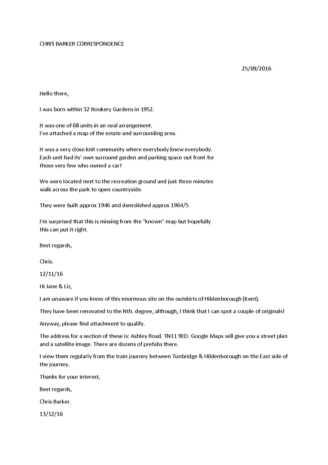 Correspondence with Chris Barker about the Rolvenden prefab