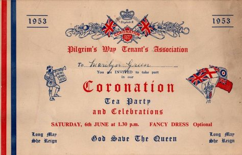 Pilgrims Way 1953 Coronation party invitation