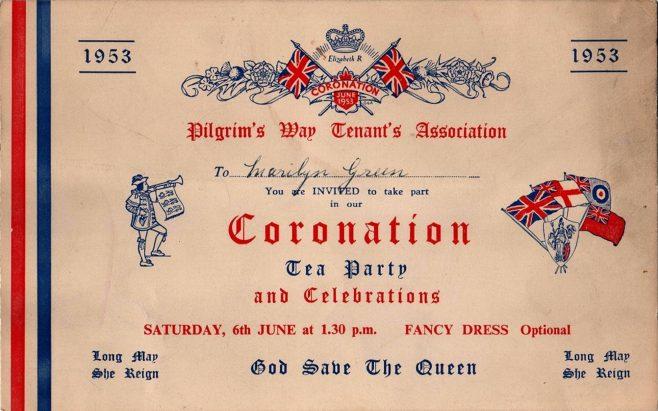 Pilgrims Way 1953 Coronation party invitation