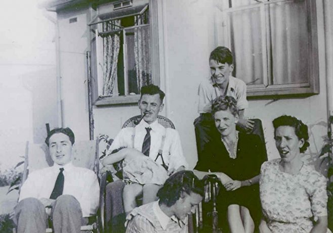 Rousselange family and friends at 87 Pilgrims Way, late 1940's | Paul Kennedy