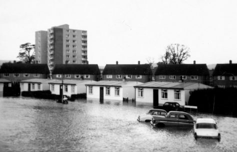 Floods as seen from front bedroom, Llandinam Crescent, Cardiff
