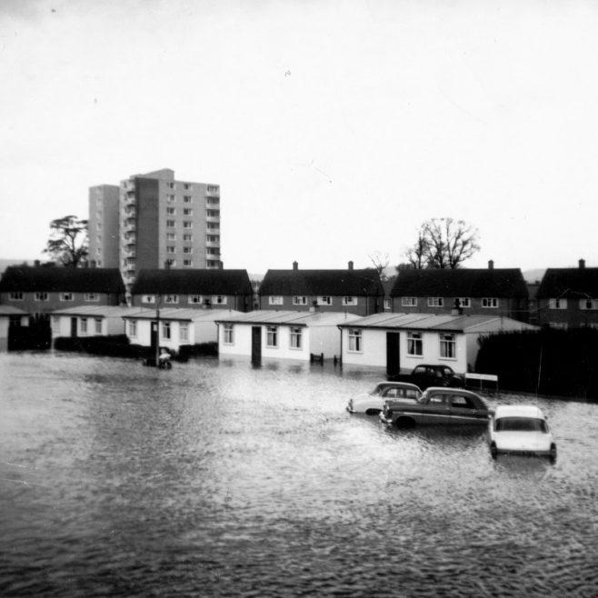Floods as seen from front bedroom, Llandinam Crescent, Cardiff