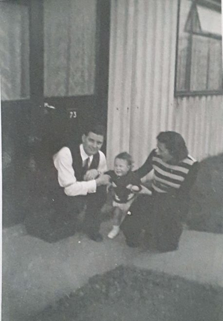 Auntie & Uncle with my brother outside the prefab at Avelon Road | Lesley Brown