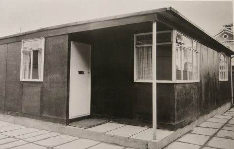 Uni-Seco Mk3 side entrance prefab on display at the Tate Gallery 1944