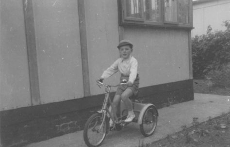 Robert on his bike outside the prefab. Kendal Road, London NW10