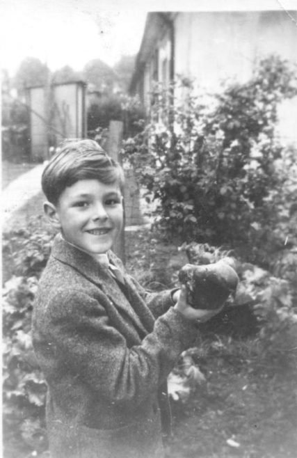 Robert holding a racing pigeon he found andrestored to its owner, taken on Coronation day. Kendal Road, London NW10