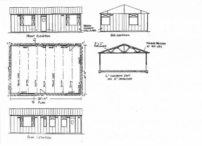 Basic plan of the prefab in sketch form. You can see the overall dimensions of 32ft. Long X 21ft. wide