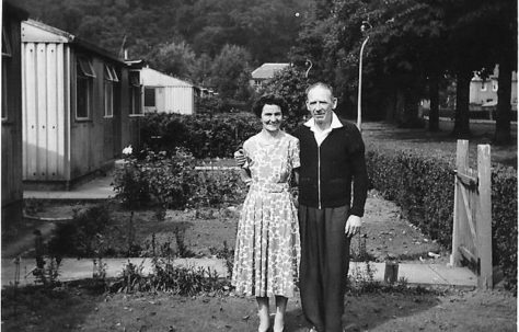 Eddie and Sally McNiven, standing outside their prefab in Windsor Street, Menstrie, Clackmannanshire