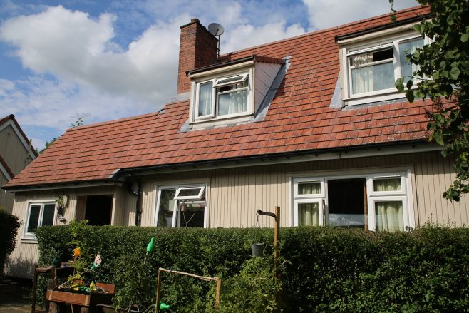 Rear view, Swedish dormer bungalow, Pool-in-Wharfedale