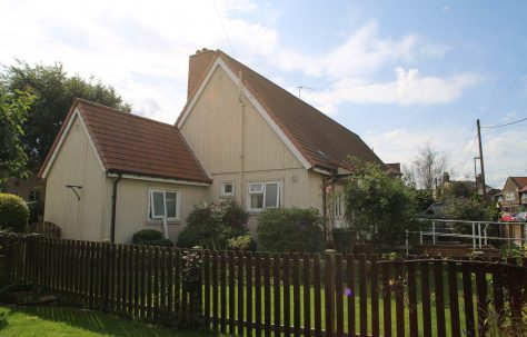Side view, Swedish dormer bungalow and wash house