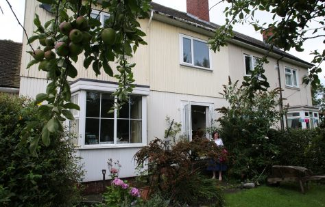 Rear view showing bay window, Swedish house, Pool-in-Wharfedale