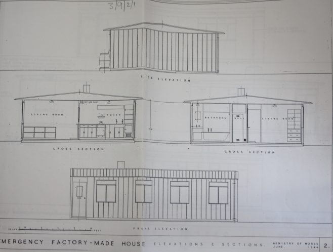 Emergency Factory Made House: Elevations & Sections. Ministry of Works October 1944