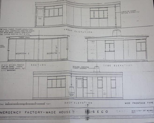Emergency Factory Made House: Seco. Wide frontage type. Ministry of Works October 1944