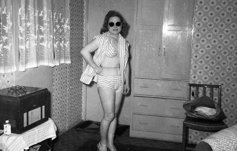 Jackie in a bikini. Oakhill Road, Putney