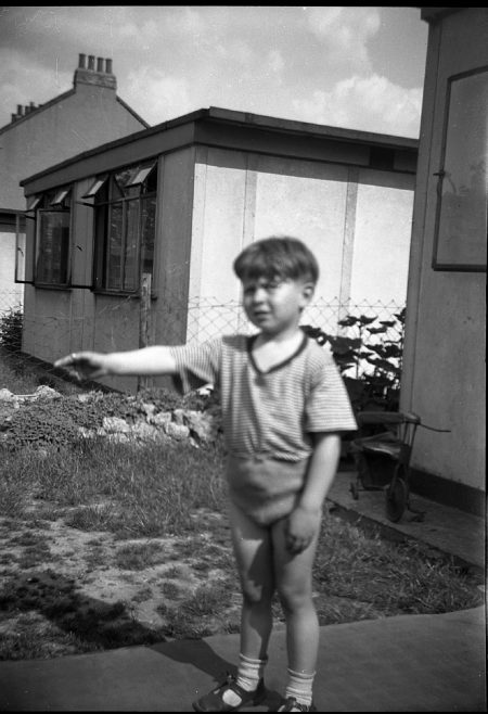 Clive outside the prefab. Sixth Street, Pollards Hill