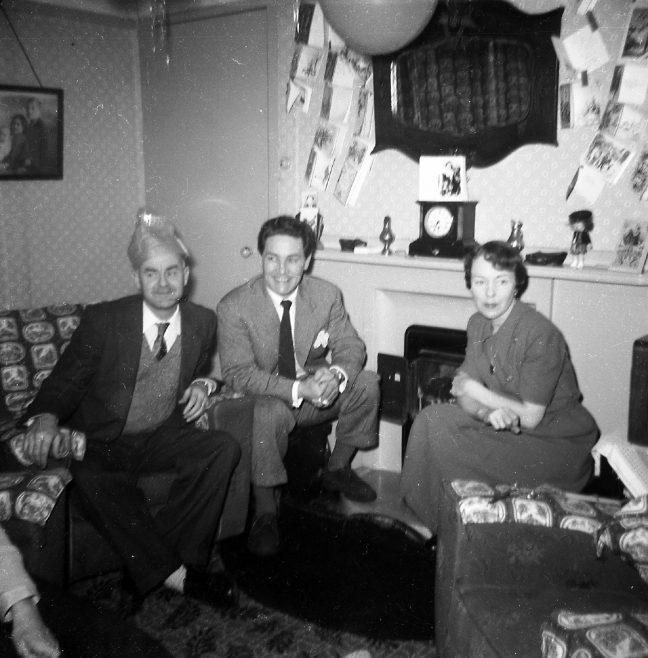 Fred, Gordon and Kath in the prefab. Sixth Street, Pollards Hill