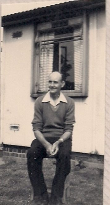 Martyn's grandfather outside the prefab. Stapleford Road, Kings Norton