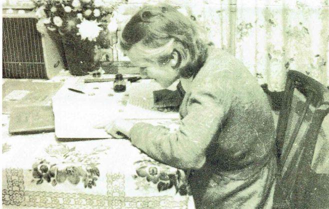 Brenda doing her homework in the prefab, Fforestfach   Brenda Ward