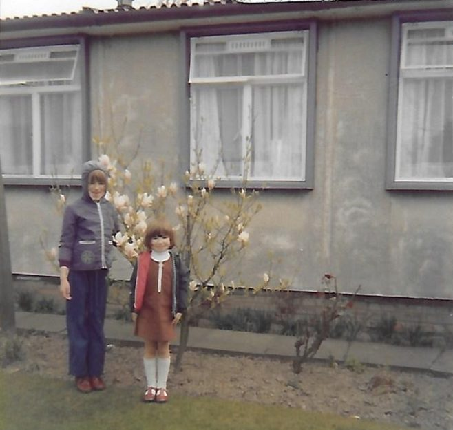 Susanne and Louise outside their grandparents' prefab, The Radleys | Mike Cherry