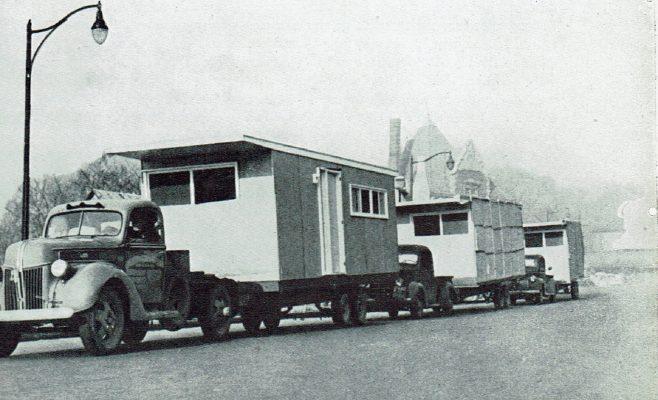 Transportation of American prefabs 1944