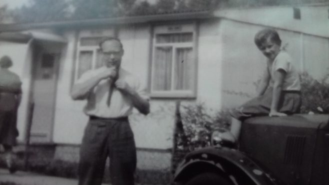 My uncle Dick Cozens with my cousin, his daughter Maureen. 58 Cuddington Way, Cheam